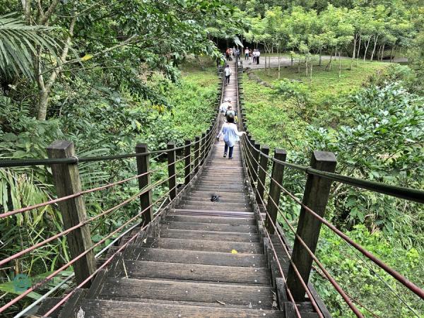Le pont suspendu sur le sentier historique de Caoling. (Image : Billy Shyu / Vision Times)