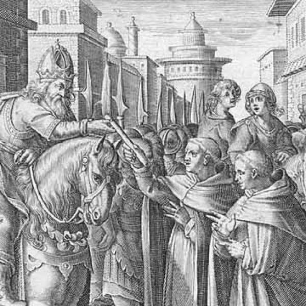 L'empereur Justinien recevant des vers à soie en 552. (Image : Wikimedia / Domaine public)
