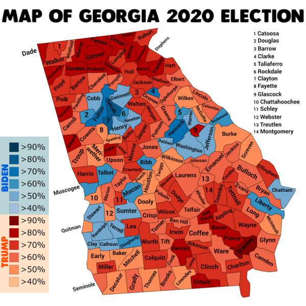 Carte des élections enGéorgie. (Image : wikimedia / C BY-SA4.0)