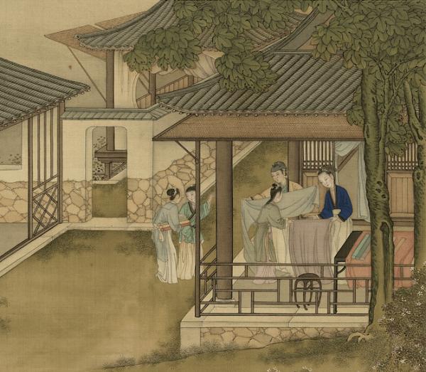 Pendant la dynastie Tang, les femmes fabriquaient des vêtements d'hiver pour leurs maris partis à la guerre. (illustration). (Image : Labour et Tissage, peint par Chen Mei, Dynastie Qing (清朝, 1644 – 1912), Musée national du Palais, Taipei / @CC BY4.0)