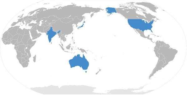 Une alliance autrefois en difficulté - le dialogue quadrilatéral pour la sécurité Quadrilateral Security Dialogue ou Quad, États-Unis-Japon-Inde-Australie - a été relancée. (Image : wikimedia / CC BY-SA 3.0)