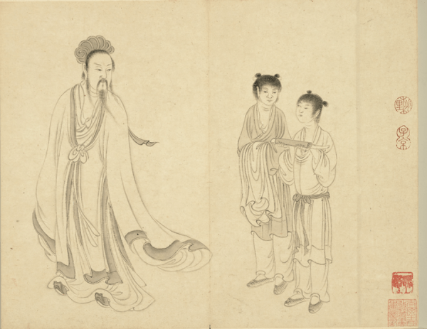 Portrait de Zhuge Liang, peint par Qiu Ying, Dynastie Ming