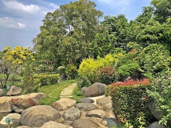 Le magnifique jardin du musée de la forêt de bois d'agar de ChengLin. (Image : Billy Shyu / Vision Times)