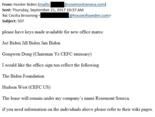Dans ce courriel adressé à Cecilia Browning, Hunter Biden a demandé les clés de ses collègues de bureau, dont son père Joe et un émissaire du conglomérat chinois CEFC Gongwen Dong.