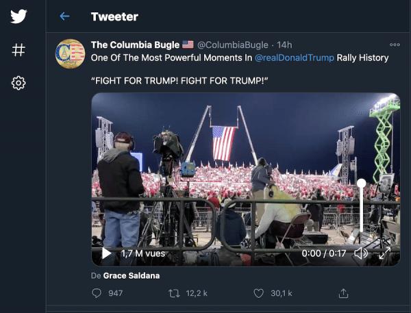 Combattons pour Trump! (Image : Capture d'écran / Twitter)