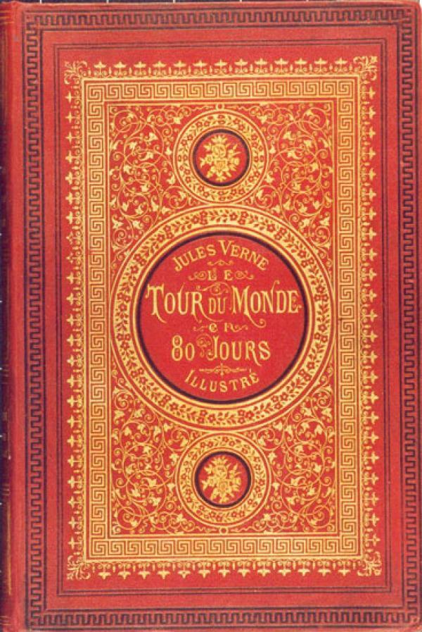 La percale est une cotonnade très douce au toucher. Elle a servi de reliure pour ce livre de Jules Verne. (Image : wikimedia / Jules Verne / Domaine public)