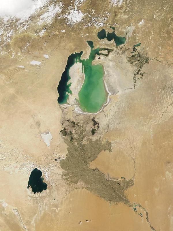 L'histoire du coton éclaire la réalité de l'histoire de l'humanité: avec ses côtés sombres, la mise en place de la mondialisation et le non-respect des écosystèmes. Ici la Mer d'Aral, victime du détournement des eaux. (Image : wikimedia / CC0)