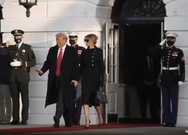 Le Président Donald Trump et la première dame Melania Trump sont sortis de la Maison Blanche vers 8 heures du matin le 20 janvier 2021. (Image : Capture d'écran / twimg.com / @WhiteHouse )
