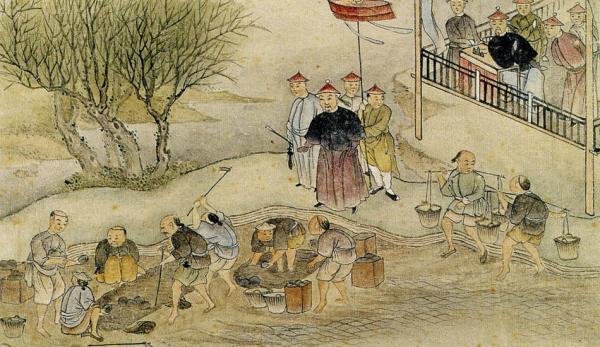 Lin Zexu surveillant la destruction de l'opium. (Image :wikimedia/CC0 1.0)