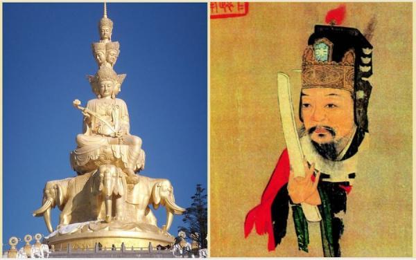 A gauche: Le grand bodhisattva Samantabhadra assis sur des éléphants et muni d'un ruyi. (Image : wikimedia / CC 3.0) A droite: Fan Zhongyan (989-1052) , premier ministre chinois de la dynastie Song, qui tenait un hu dans les mains. (Image : wikimedia / CC BY-SA 3.0)