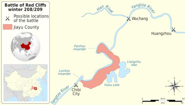 Carte du déroulement supposé de la bataille de la Falaise Rouge. (Image : wikimedia / © Sémhur)