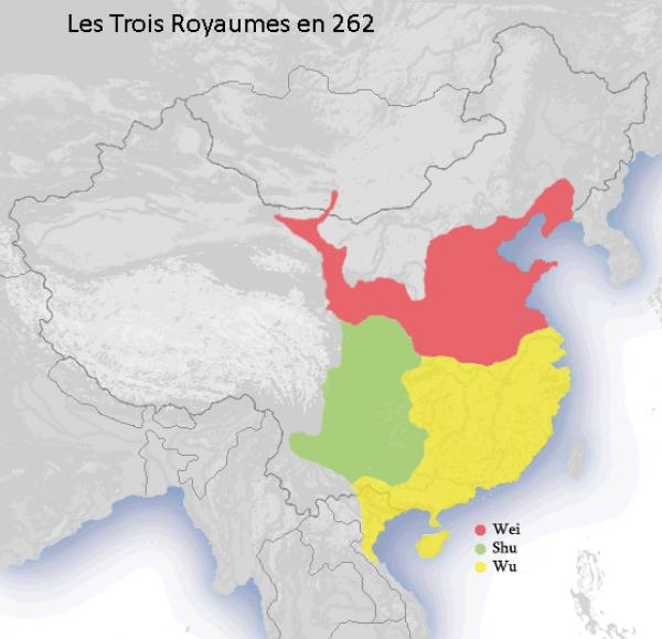 Les Trois Royaumes en 262. (Image : wikimedia / CC BY-SA 4.0)