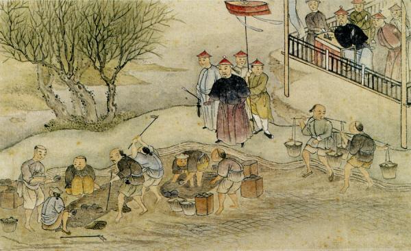 Lin supervisant la destruction de l'opium.(Image :Wikimedia/CC0 1.0)