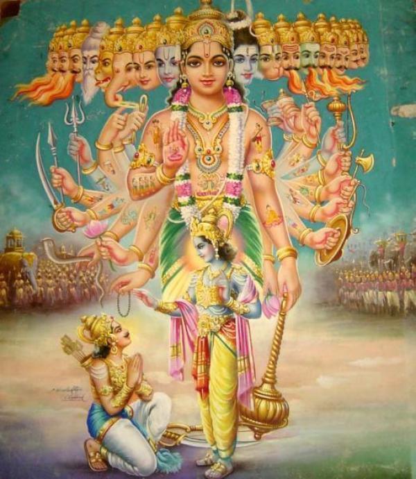 Krishna, divinité indienne, montre à Arjuna sa forme universelle. (Image : wikimedia / CC BY-SA 3.0)