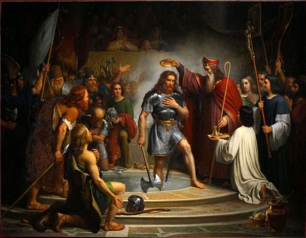Evènement d'une importance capitale, le baptême de Clovis fut considéré dès le Moyen-Âge comme l'acte fondateur du royaume de France. (Image : wikimedia / G.Garitan / CC BY-SA 4.0)