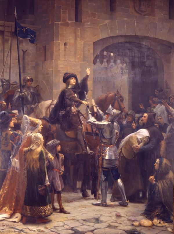 L'arrivée de Jeanne d'Arc fut une véritable lueur d'espoir pour la population qui se remit dès lors à croire en la victoire. (Image : wikimedia / Jean-Jacques Scherrer / Domaine public)