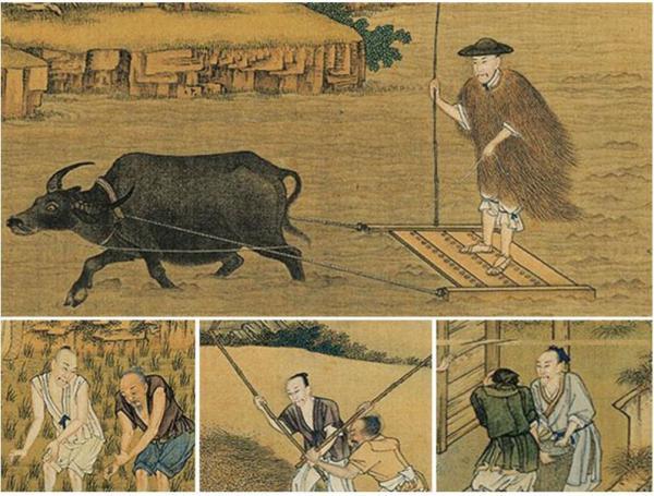 L'empereur Yongzheng de la dynastie Qing laboure les champs pour encourager le peuple