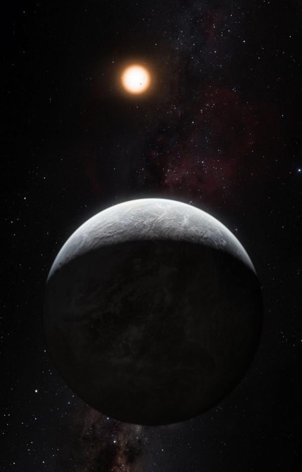 HD85512, super-Terre rocheuse découverte grâce à l'instrument HARPS, qui en a repéré plus de 50, est environ 3,6 fois plus massive que la Terre et se trouve au bord de la zone habitable autour de l'étoile, où la présence d'eau sous forme liquide, voire de vie, est théoriquement possible.(Image : ESO / M. Kornmesser)