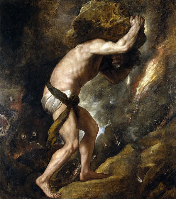 Sisyphys» (1548-49) par Titien, Musée du Prado, Madrid, Espagne. (Image : wikimedia / Titian / Domaine public)