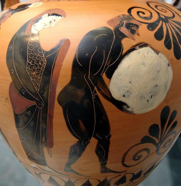 Perséphone supervisant Sisyphe aux Enfers, amphore à figures noires de l'Attique (vase), v. 530 avant JC, Staatliche Antikensammlungen. (Image : wikimedia / Staatliche Antikensammlungen / Domaine public)