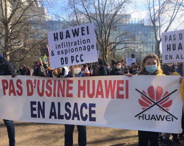 Boycotter l'implantation de l'usine Huawei à Brumath. (Image: Caroline Daix / VisionTimes)
