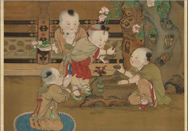 Les enfants portent les cadenas de longévité et versent de l'eau sur la figurine du Bouddha, tradition pour fêter l'anniversaire de Bouddha ayant lieu le 8ème jour du 4ème mois du calendrier lunaire chinois. (Image : Peint par Su Hanchen, dynastie Song / Musée Nationale du Palais deTaïwan / @CC BY 4.0)