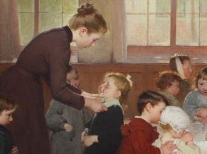 Al'école, peinture de Henri Jules Jean Geoffroy(1898) commandée par Jules Ferry pour représenter l'école républicaine. (Image : wikimedia / Henri Jules Jean Geoffroy / Domaine public)