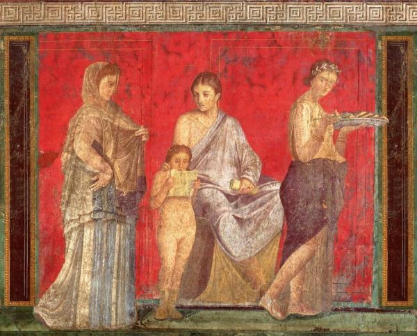 «Fresque de la Villa des Mystères» - Pompéi, environ 60 avant J-C. (Image : wikimedia / Pompejanischer Maler um 60 v. Chr. / Domaine public)
