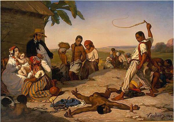 «Le châtiment des quatre piquets», peinture de Marcel Verdier, 1843. (Image : wikimedia / Marcel Verdier / Domaine public)