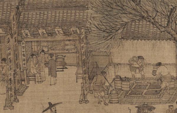Le cabinet du médecin Zhao Taichen à côté du puits à quatre yeux. (Image : wikimedia / National Palace Museum / Domaine public)