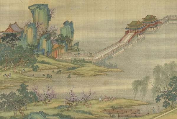 Fleurs d'abricotier dans le tableau La fête Qing Ming au bord de la rivière. (Image : wikimedia / National Palace Museum / Domaine public)