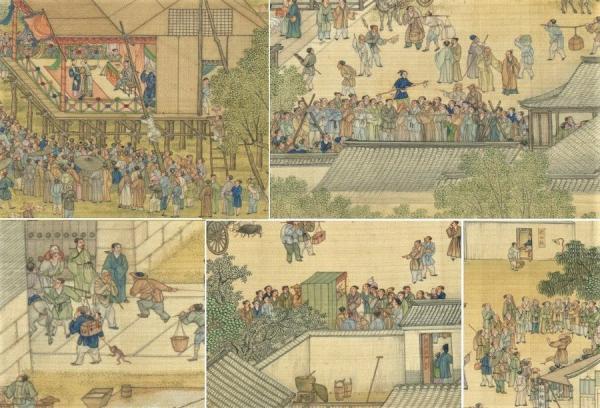 Il existait divers stands de jongleurs et de troupes de chants et de danses. (Image : Musée Nationale du Palais deTaïwan / @CC BY 4.0)